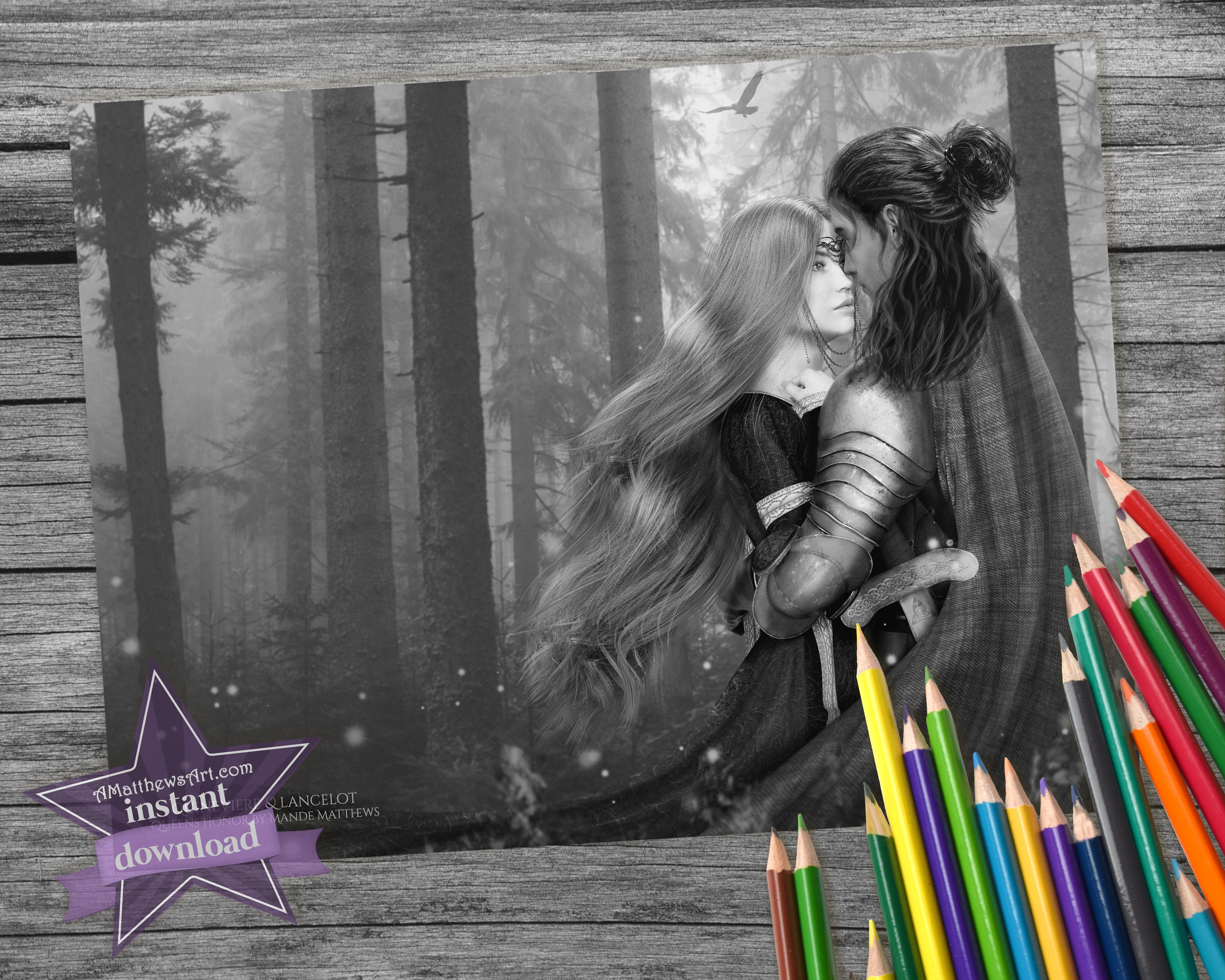 Beautiful Medieval Romance Couple Free Grayscale Coloring Page - Instant Download