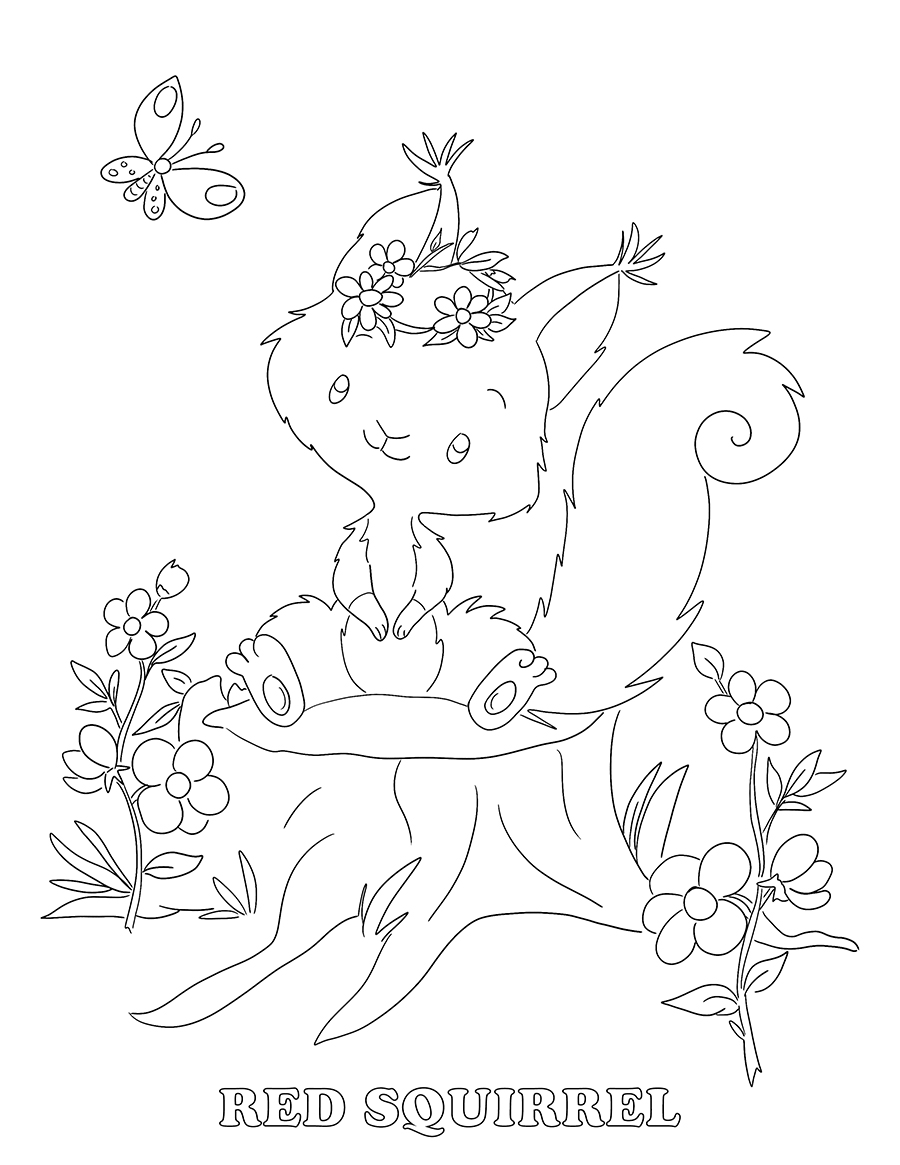 Free Coloring Book Page for Kids - Forest Friends Red Squirrel