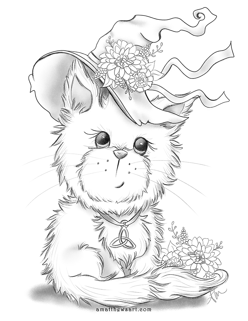 Free Halloween, Wicca, Magical Witch's Familiar Kitten Coloring Page Instant Download